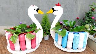Incríveis Vasos de Flores em Forma de Pato com Garrafas Pet e Concreto