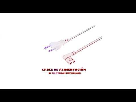 Video de Cable de alimentacion IEC-320-C7 acodado 2 M Blanco