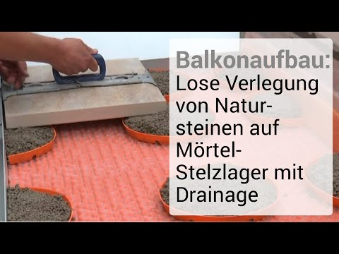 balkonaufbau lose verlegung von natursteinen auf m rtel stelzlager mit drainage youtube. Black Bedroom Furniture Sets. Home Design Ideas