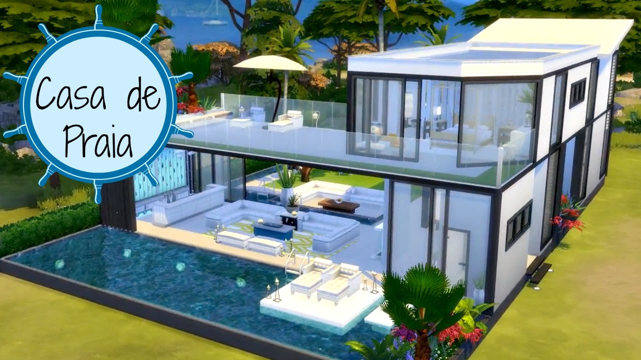 Casa de praia the sims 4 speed build youtube for Casas modernas the sims 4