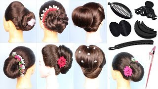 6 Different Bun Hairstyles for Party, Wedding   जुड़ा  कैसे  बनाये    6 Juda hairstyles