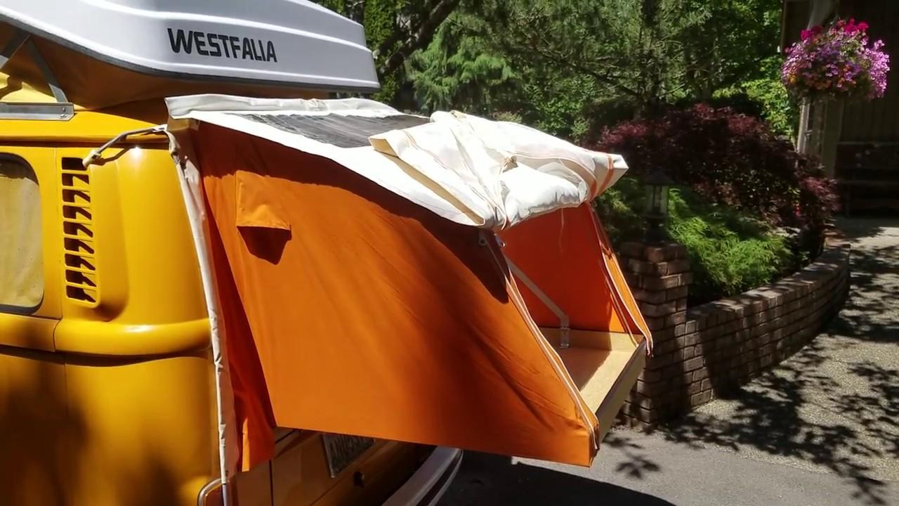 Rear Westfalia Tent - Authentic 70u0027s Accessory & Rear Westfalia Tent - Authentic 70u0027s Accessory - YouTube
