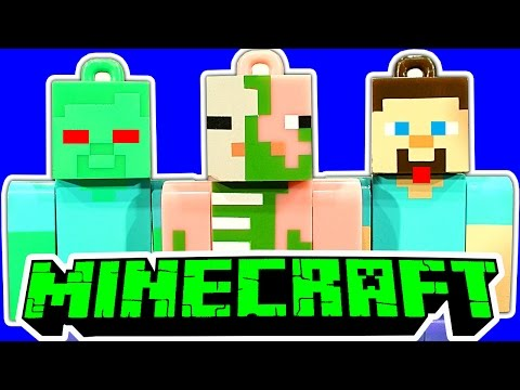 Minecraft Hangers 20 Blind Bags Unboxing Creeper Steve Zombie Pigs