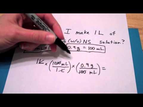 How do I make 1L of a 0.9%(w/v) NS solution?
