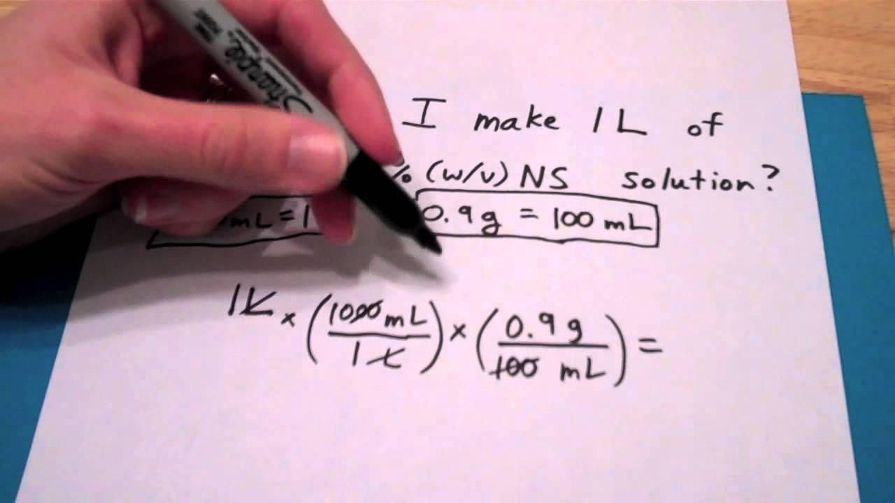 How do I make 1L of a 0 9%(w/v) NS solution?