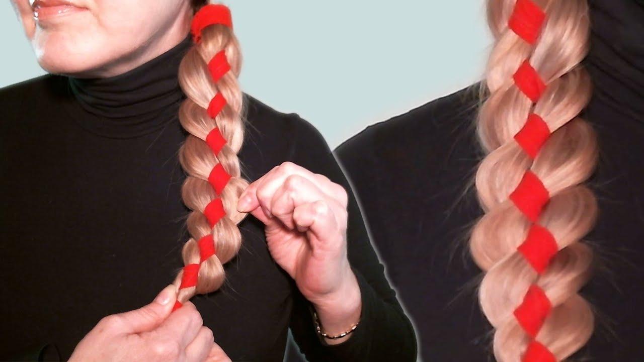 как вплести ленту в косу фото поэтапно