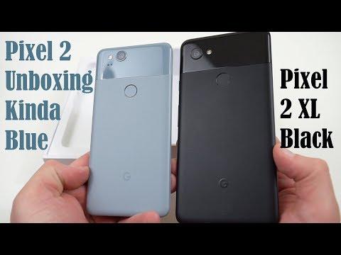 Google Pixel 2 Kinda Blue Unboxing: Better Display vs Pixel 2 XL?