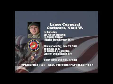 U.S. Marine Memorial Tribute - Afghanistan War - U.S. Marine Lance Corporal Cotisears, Niall W. - VA