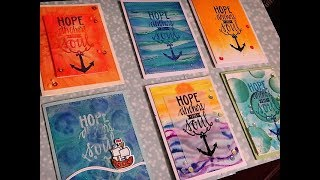 Six Card Background Ideas with One Big Sentiment Stamp