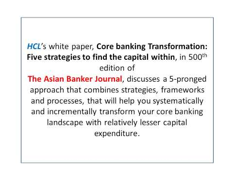 Core Banking Transformation Ideas