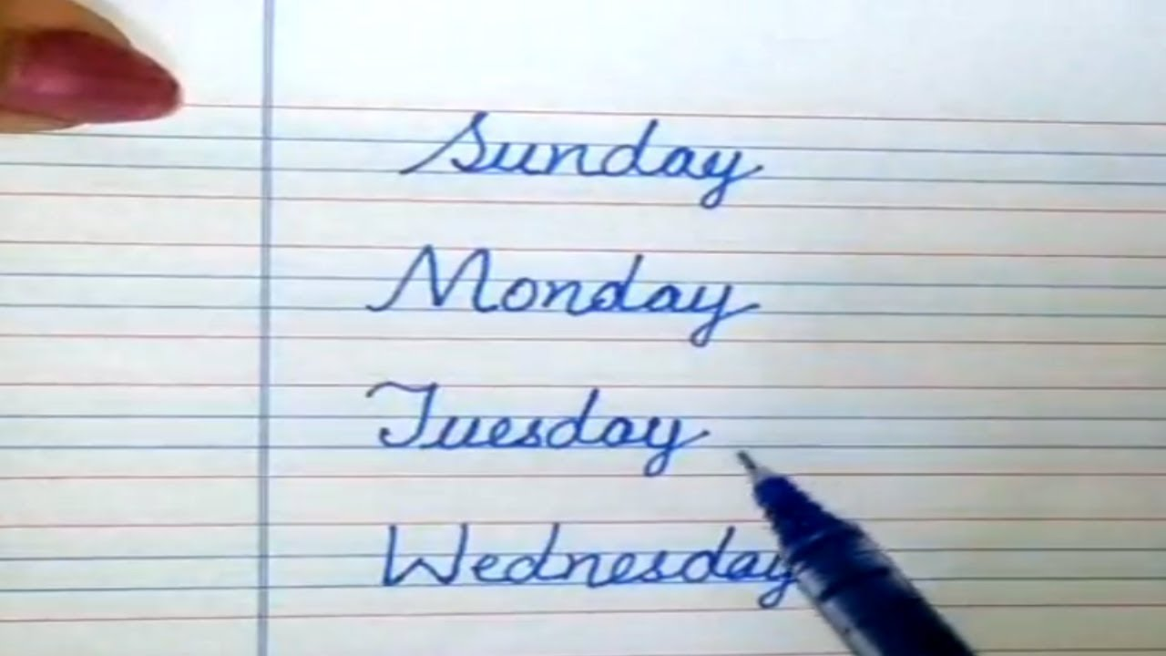 Days Of The Week With Spellings