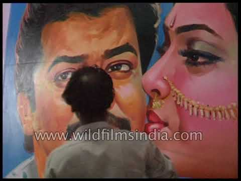 Indian painters paint film posters in Chennai
