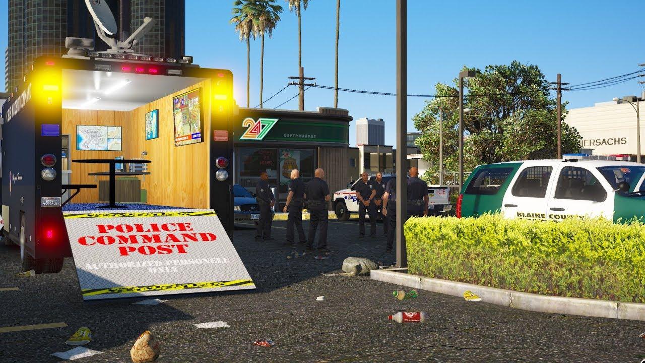 LSPDFR - Day 666 - Mobile Command Center arrives at manhunt scene