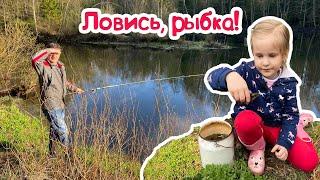 ЛОВЛЯ РОТАНА на удочку БЕШЕНЫЙ КЛЕВ Miss Masha с папой на рыбалке на лесном озере СЛЕДЫ КАБАНА