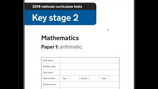 2018 Year 6 SATs Maths Arithmetic paper 1 walkthrough guide