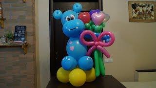 Бегемотик из воздушных шаров. Hippopotamus from balloons