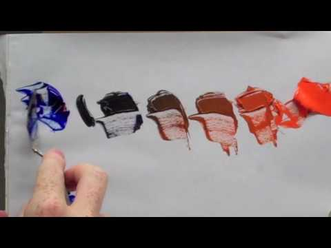 Colour wheel complementary colours: Blue & orange complementary colour mixing