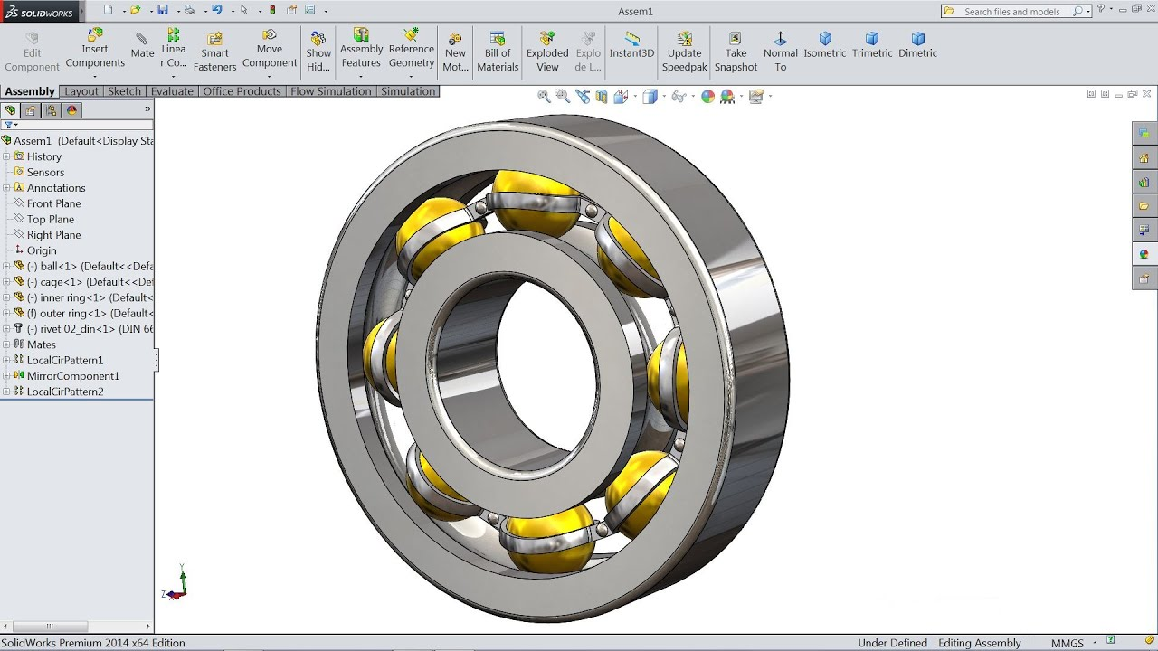 SolidWorks tutorial   Design And Assembly of Ball Bearing ...