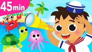 A Sailor Went to Sea Sea Sea | Crab, Turtle, Baby Shark, Jellyfish | Nursery Songs by Little Angel