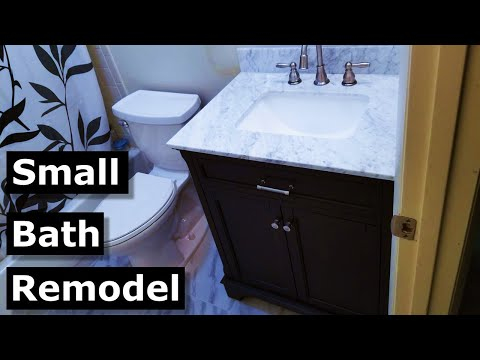 small-bathroom-remodel-diy-|-new-tile,-vanity,-toilet,-ditra