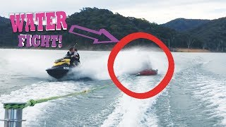 Water Fight! Jetski vs Kid Skiers!