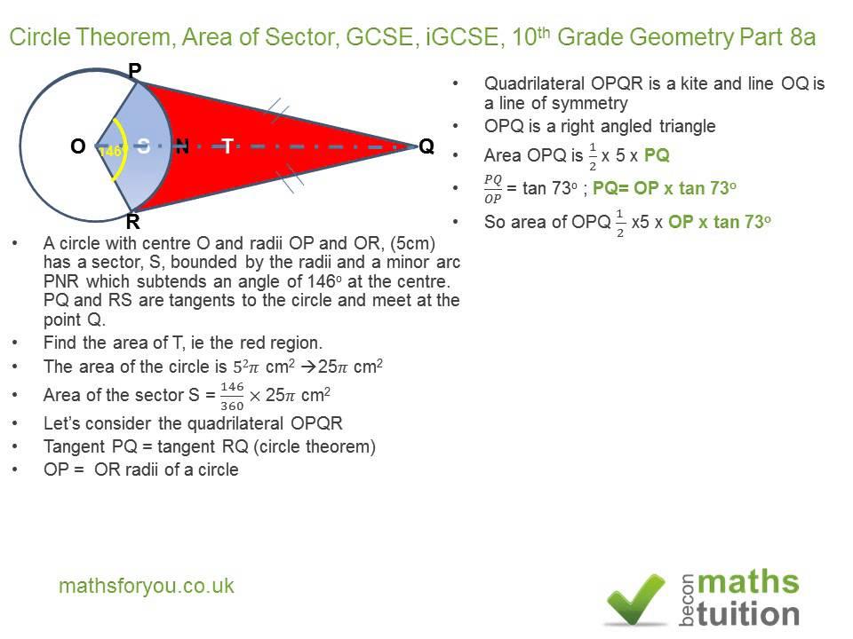 Circle Theorem Area Of Sector Gcse Igcse 10th Grade Geometry