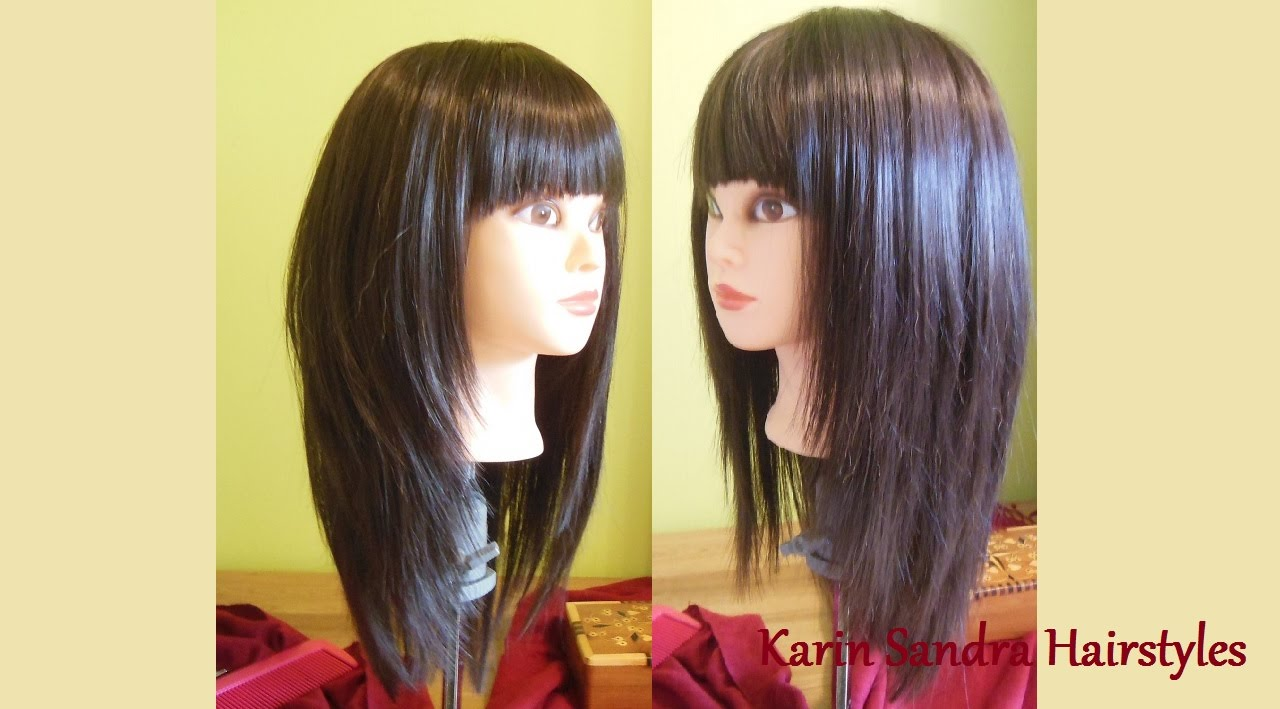 Image is part of v shaped hairstyle pictureslong layered haircuts - Long Layered Bob Haircut With Bangs Long Length Layers Haircut Tutorial Corte De Cabelo Feminino Youtube
