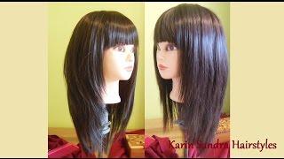 Long Layered Bob haircut with bangs | Long length layers haircut tutorial | Modern Shag haircut