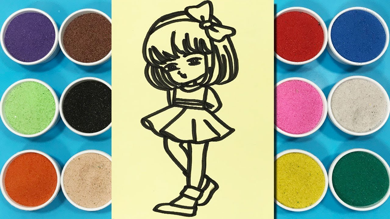 Đồ chơi trẻ em TÔ MÀU TRANH CÁT BÚP BÊ - Colors sand painting baby ...