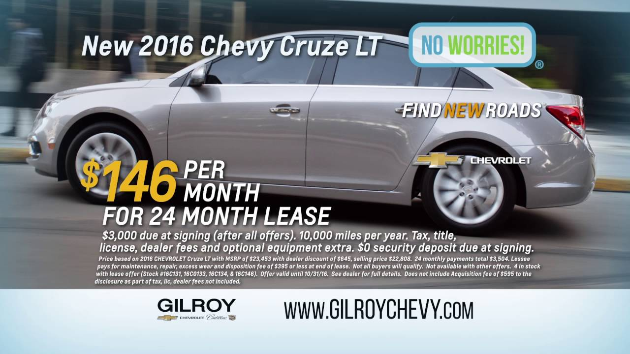 New 2016 Chevyrolet Cruze Lease Only 146 A Month At Gilroy Chevy