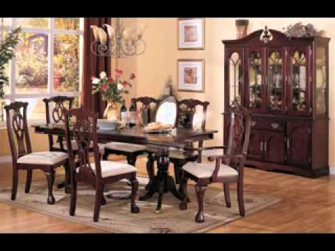 Cherry wood dining room set design decorating ideas - YouTube