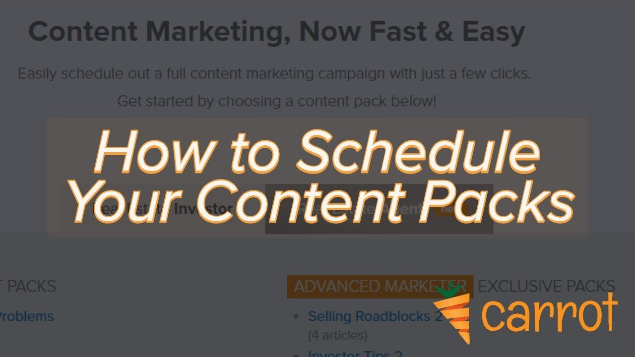 How to Schedule Your Carrot Content Packs - Video Tutorial