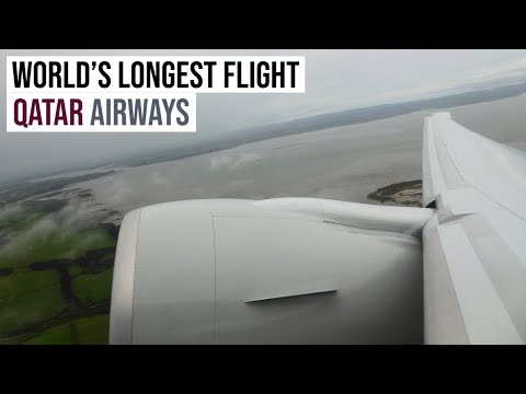 World's Longest Flight: Departing Auckland ✈ Qatar Airways Boeing 777-200LR