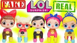 FAKE LOL Surprise Dolls + Lil Sisters Customized Wrong Heads as Pets
