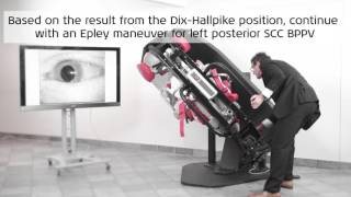 How to perform Dix-Hallpike test of left posterior SCC with Epley maneuver using the TRV Chair