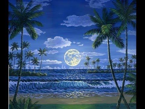 Come dipingere un paesaggio 1 marino notte con acrilico su tela  YouTube