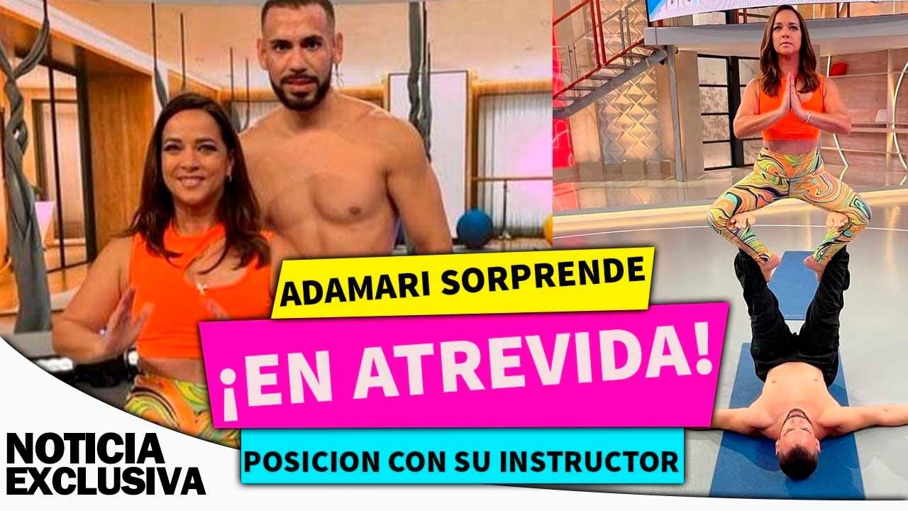 Adamari López sorprende  con ATREVIDA 😜POSICION 😜  de yoga con su INSTRUCTOR.