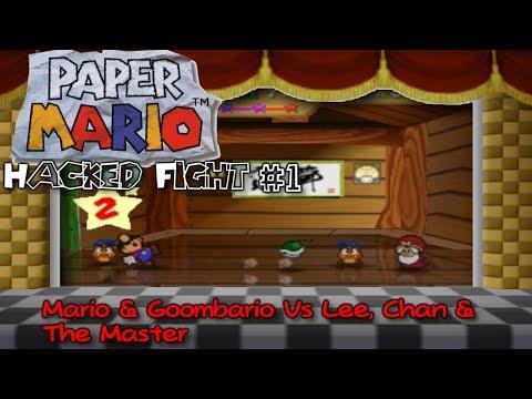 Paper Mario 64: [Hacked Fight #1]: Mario & Goombario Vs Chan, Lee & The Master