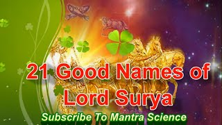 21 Good Names of Lord Surya for Good Luck