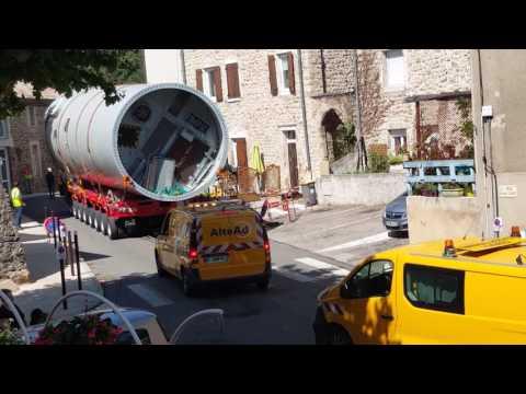 Les transports des éoliennes jour 2ème à St Georges  les Bains 27.06.2017