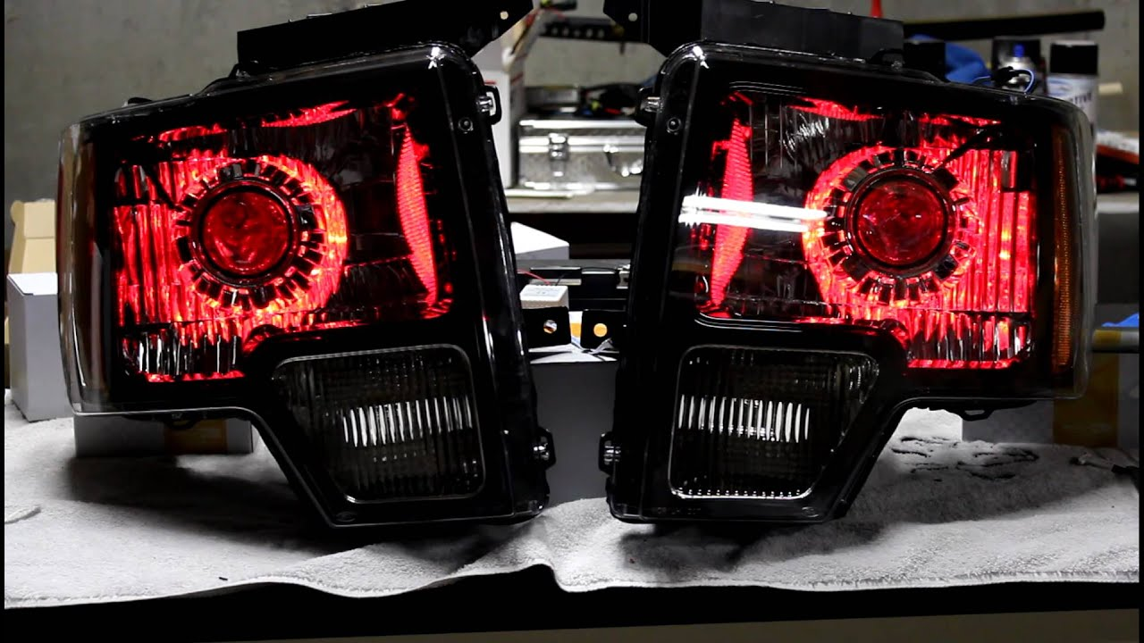 F150 Led Headlights >> Ford Raptor Headlights Retrofit HID Projectors RGB LED's - YouTube