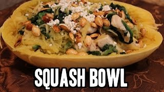 Spaghetti Squash Bowl (w Chicken, Spinach and Goat Cheese!)