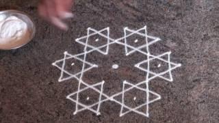 7 dots Rangoli/ Daily rangoli/ simple rangoli/ chukki rangoli /star rangoli