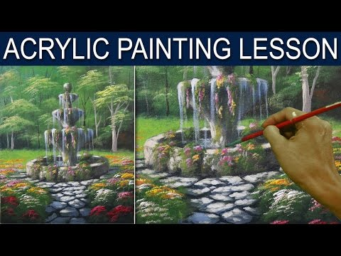 Acrylic Landscape Painting Lesson | Flower Garden with Old Fountain by JM Lisondra