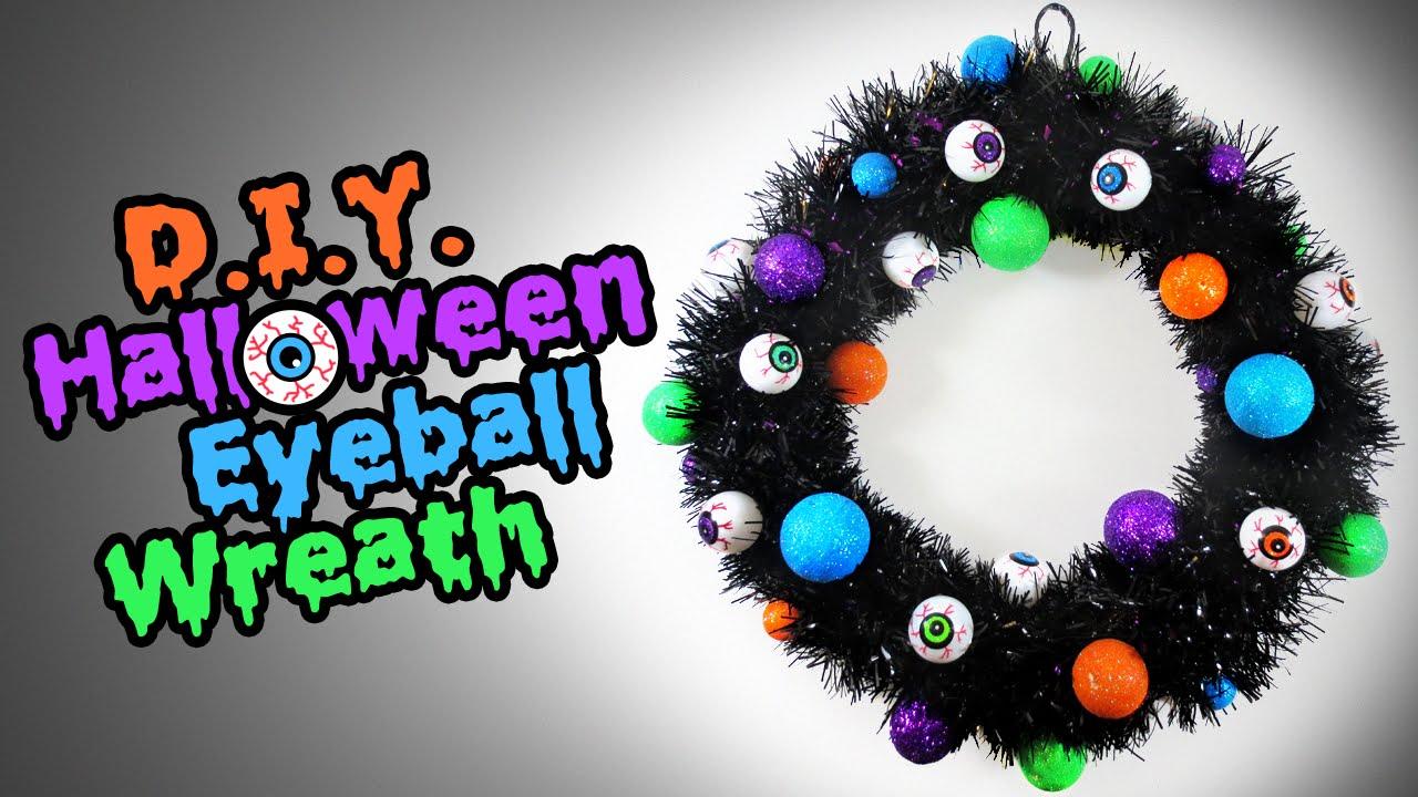 diy halloween eyeball wreath - easy halloween decoration ideas - youtube