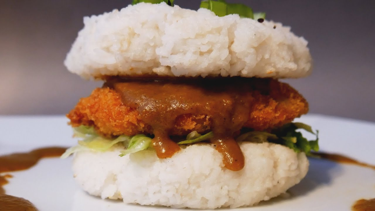 chicken katsu curry rice burger with curry fries treat factory youtube. Black Bedroom Furniture Sets. Home Design Ideas