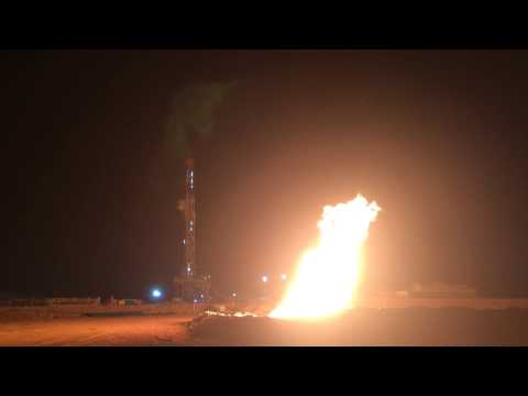 Sound Energy Tendrara TE7 Gas Flare By Night. (Morocco)