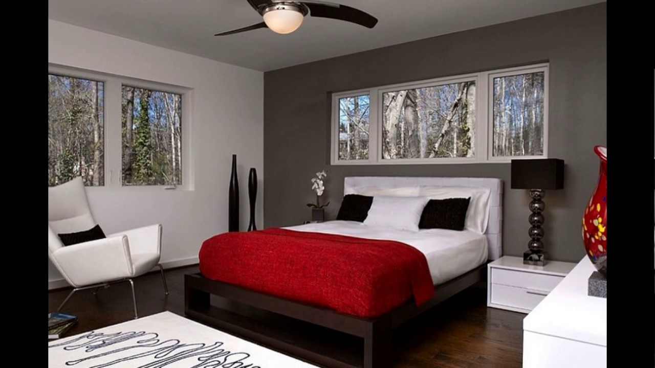 red accent bedroom - YouTube