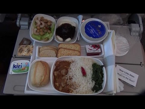 In flight meals of Emirates DXB-LHR في الإمارات وجبات طيران