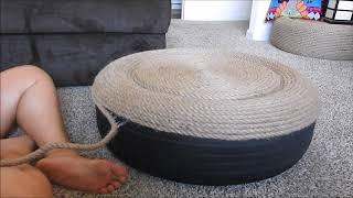How to make an attractive, modern looking Ottoman out of an old tire and rope